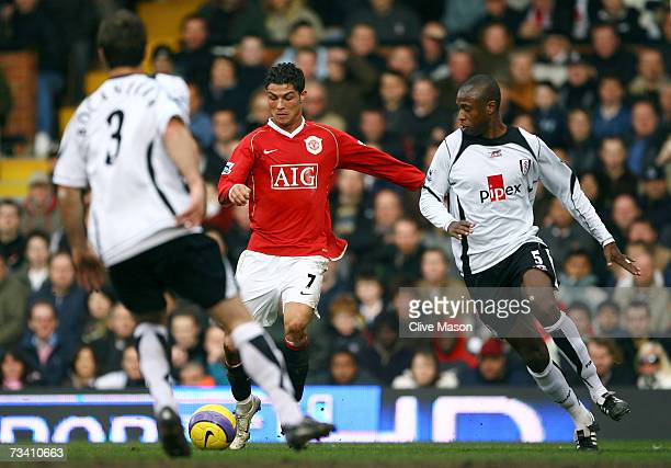 Cristiano Ronaldo of Manchester United scores the second goal during the Barclays Premiership match between Fulham and Manchester United at Craven...