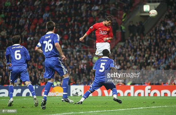 Cristiano Ronaldo of Manchester United scores their first goal during the UEFA Champions League Final match between Manchester United and Chelsea at...