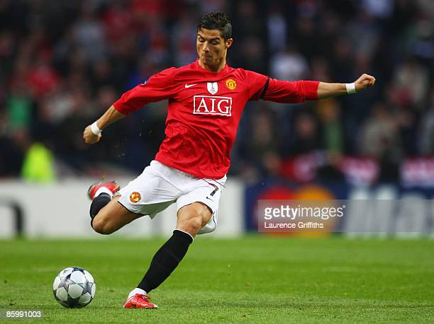 Cristiano Ronaldo of Manchester United scores their first goal during the UEFA Champions League Quarter Final second leg match between FC Porto and...