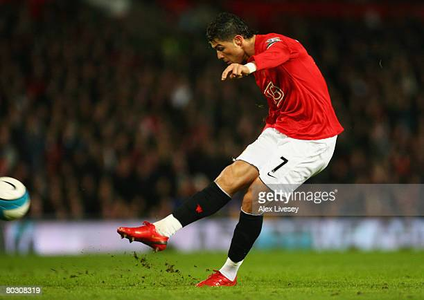 Cristiano Ronaldo of Manchester United scores their second goal from a free kick during the Barclays Premier League match between Manchester United...