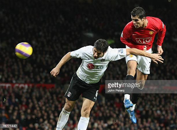 Cristiano Ronaldo of Manchester United scores their second goal during the Barclays FA Premier League match between Manchester United and Fulham at...