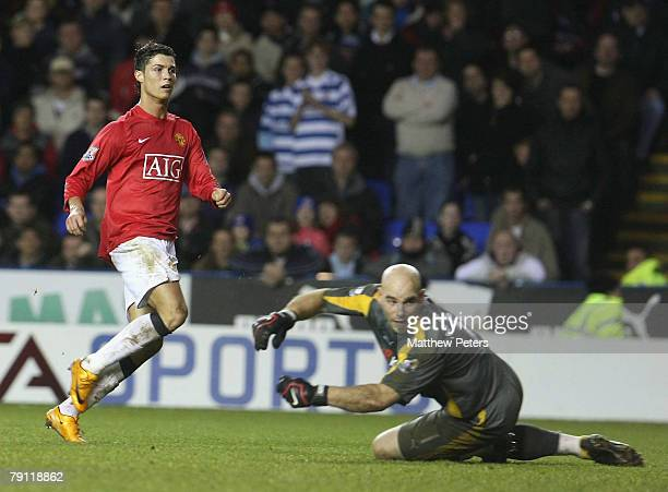 Cristiano Ronaldo of Manchester United scores their second goal during the Barclays FA Premier League match between Reading and Manchester United at...