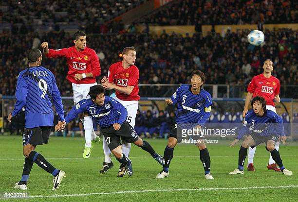 Cristiano Ronaldo of Manchester United scores their second goal during the FIFA World Club Cup Semi-Final match between Gamba Osaka and Manchester...