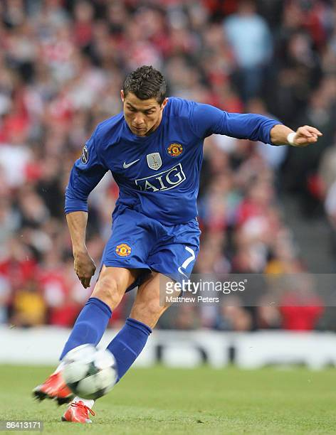 Cristiano Ronaldo of Manchester United scores their second goal during the UEFA Champions League SemiFinal Second Leg match between Arsenal and...