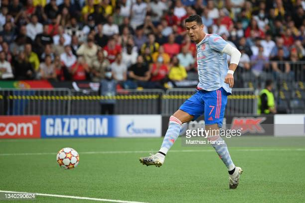 Cristiano Ronaldo of Manchester United scores their side's first goal during the UEFA Champions League group F match between BSC Young Boys and...