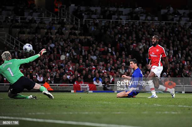 Cristiano Ronaldo of Manchester United shoots and scores the third goal of the game during the UEFA Champions League Semi Final Second Leg match...