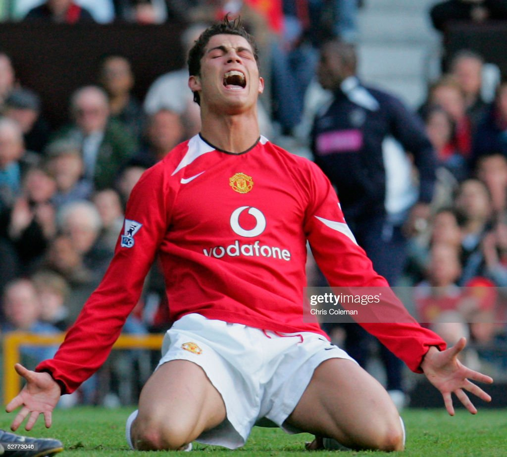 Cristiano Ronaldo of Manchester United shows his disappointment after a missed chance during the Barclays Premiership match between Manchester United and West Bromwich Albion at Old Trafford on May 7 2005 in Manchester, England.