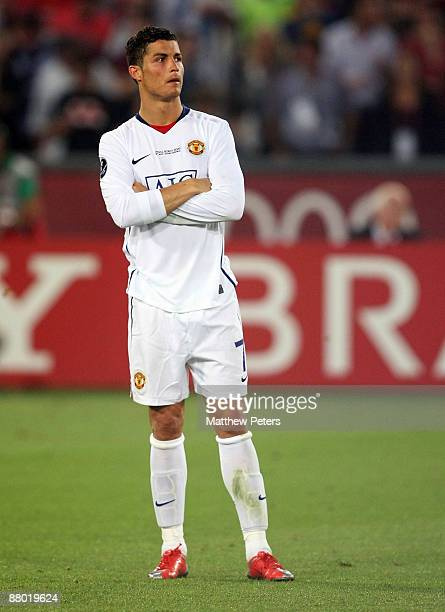 Cristiano Ronaldo of Manchester United shows his disappointment after the UEFA Champions League Final between FC Barcelona and Manchester United at...