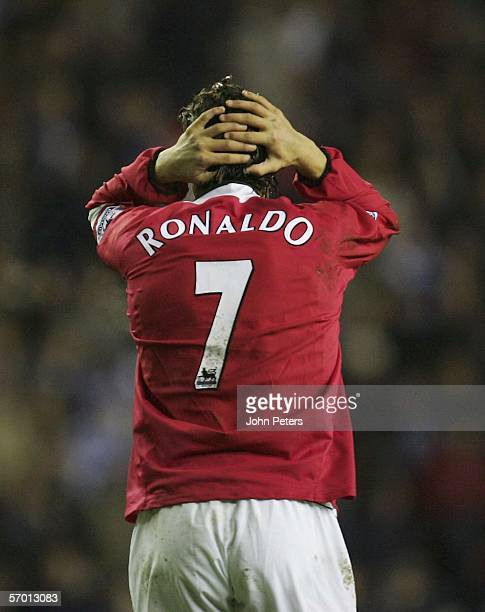 Cristiano Ronaldo of Manchester United shows his disappointment at a missed chance during the Barclays Premiership match between Wigan Athletic and...