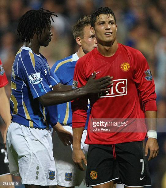 Cristiano Ronaldo of Manchester United shows his disappointment at being sent off during the Barclays FA Premier League match between Portsmouth and...