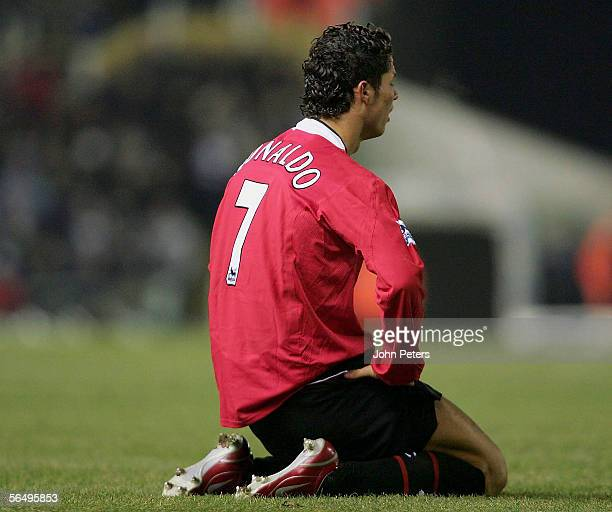 Cristiano Ronaldo of Manchester United shows his disappointment during the Barclays Premiership match between Birmingham City and Manchester United...