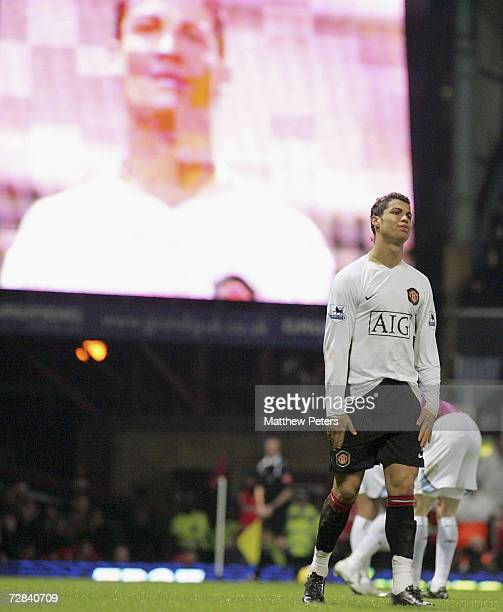 Cristiano Ronaldo of Manchester United shows his disappointment during the Barclays Premiership match between West Ham United and Manchester United...