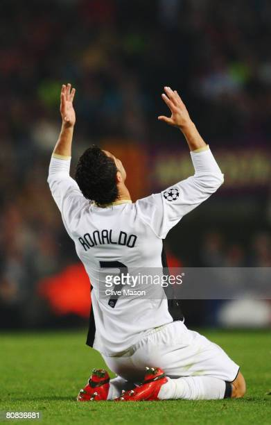 Cristiano Ronaldo of Manchester United shows his frustration during the UEFA Champions League SemiFinal first leg match between Barcelona and...