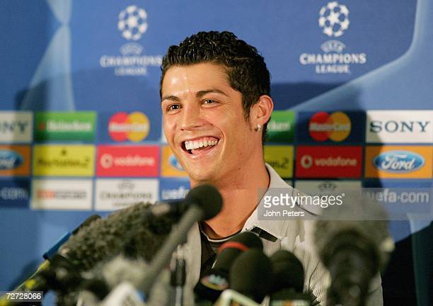 Cristiano Ronaldo of Manchester United speaks during a press conference at Old Trafford on December 5 2006 in Manchester England