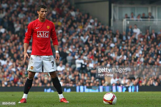 Cristiano Ronaldo of Manchester United stands ready to take a free kick during the Barclays Premier League match between Fulham and Manchester United...