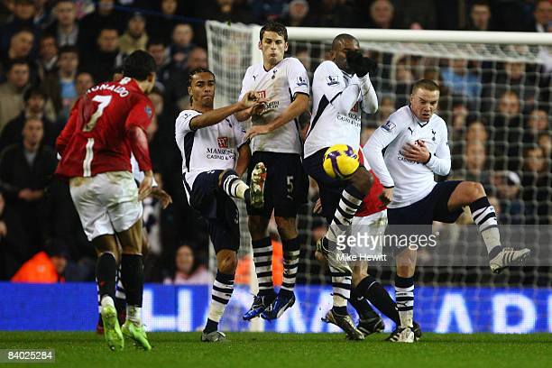 Cristiano Ronaldo of Manchester United takes a free kick during the Barclays Premier League match between Tottenham Hotspur and Manchester United at...