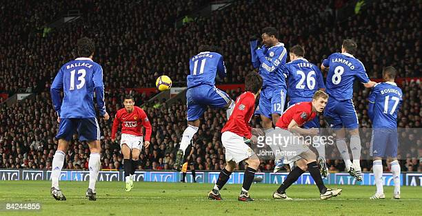Cristiano Ronaldo of Manchester United takes a free kick during the Barclays Premier League match between Manchester United and Chelsea at Old...