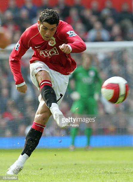 Cristiano Ronaldo of Manchester United takes a freekick during the Barclays Premiership match between Manchester United and Blackburn Rovers at Old...