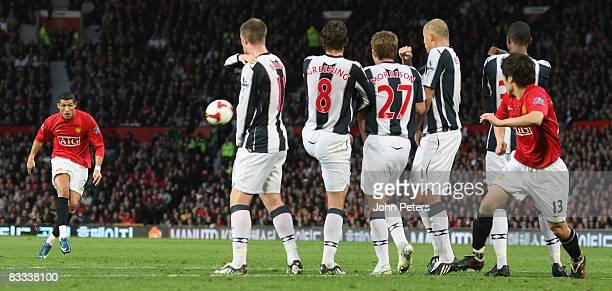 Cristiano Ronaldo of Manchester United takes a freekick during the Barclays Premier League match between Manchester United and West Bromwich Albion...