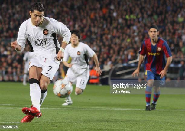 Cristiano Ronaldo of Manchester United takes a penalty during the UEFA Champions League Semi-Final First Leg match between Barcelona and Manchester...