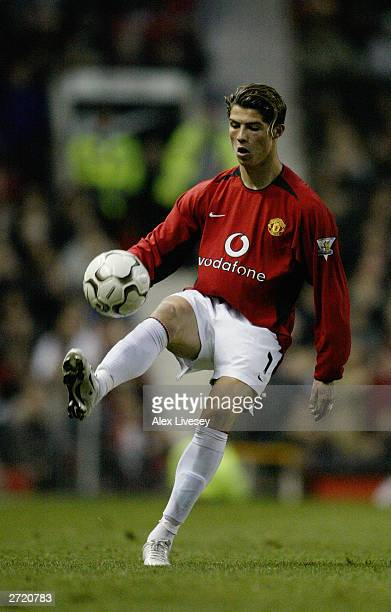Cristiano Ronaldo of Manchester United takes control of the ball during the FA Barclaycard Premiership match between Manchester United and Portsmouth...