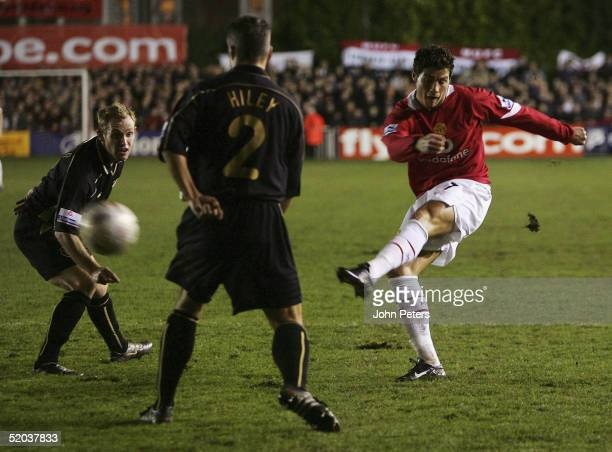 Cristiano Ronaldo of Manchester United tries a shot during the FA Cup third round replay match between Exeter City and Manchester United at St James...