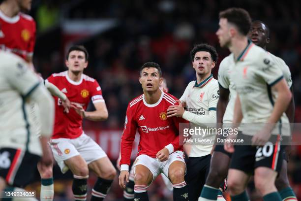 Cristiano Ronaldo of Manchester United waits for a corner kick during the Premier League match between Manchester United and Liverpool at Old...