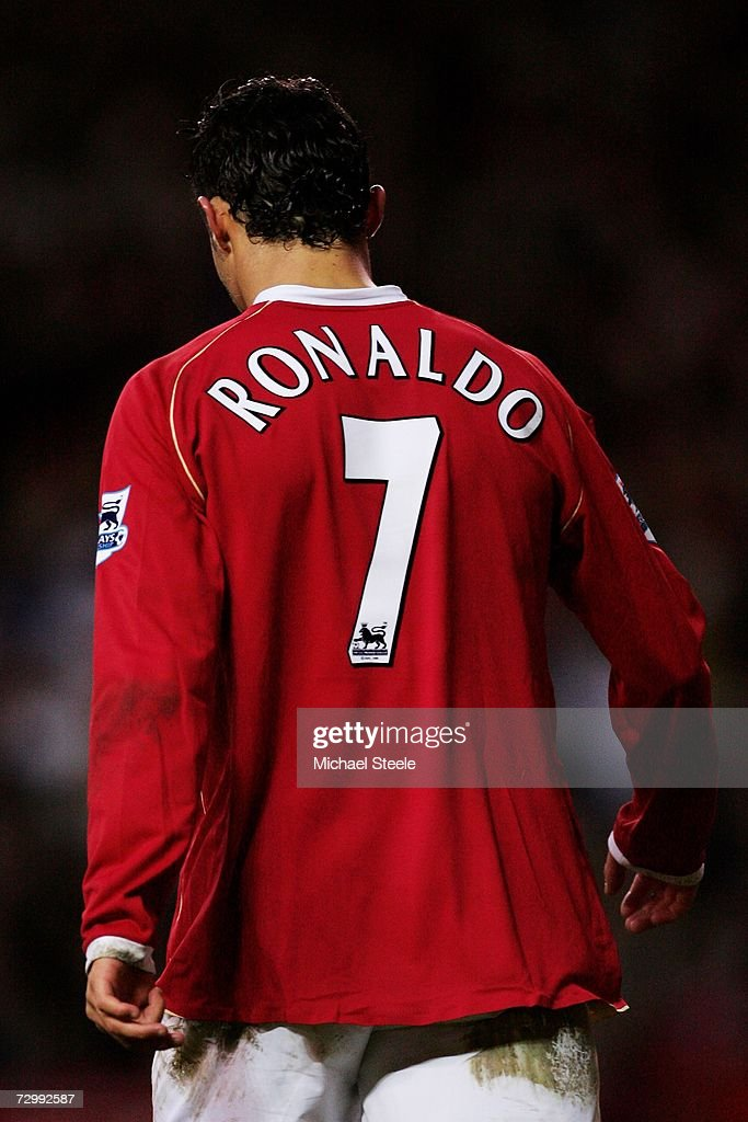 Cristiano Ronaldo of Manchester United walks back to the centre during the Barclays Premiership match between Manchester United and Aston Villa at Old Trafford on January 13, 2007 in Manchester, England.