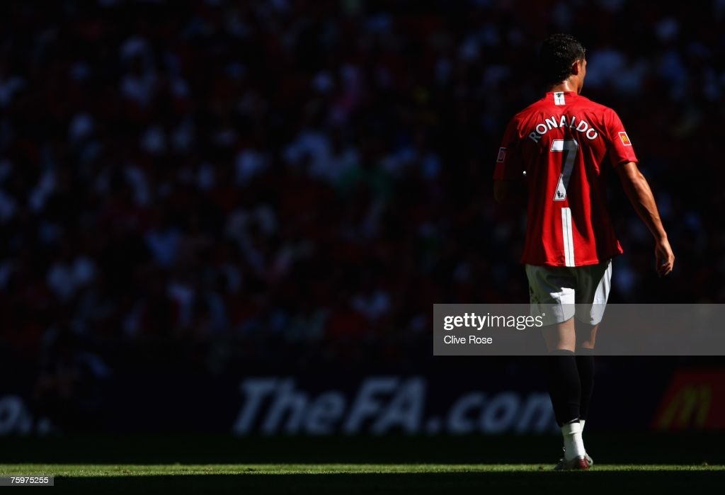 Cristiano Ronaldo of Manchester United walks through the shadows during the FA Community Shield match between Chelsea and Manchester United at Wembley Stadium on August 5, 2007 in London,England.