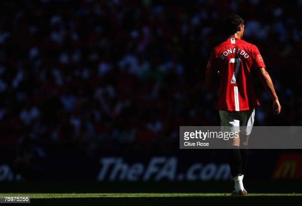 Cristiano Ronaldo of Manchester United walks through the shadows during the FA Community Shield match between Chelsea and Manchester United at...