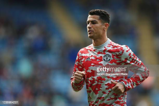 Cristiano Ronaldo of Manchester United warms up before the Premier League match between Leicester City and Manchester United at The King Power...