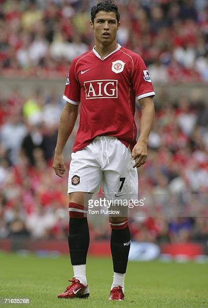 Cristiano Ronaldo of Manchester Unitedin action during during the preseason friendly match between Manchester United and Sevilla at Old Trafford on...