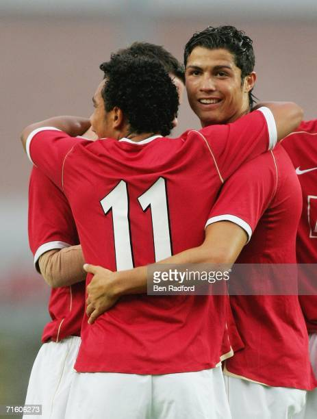 Cristiano Ronaldo of Manchester Utd celebrates his goal during the pre-season friendly match between Oxford Utd and Manchester Utd at the Kassam...