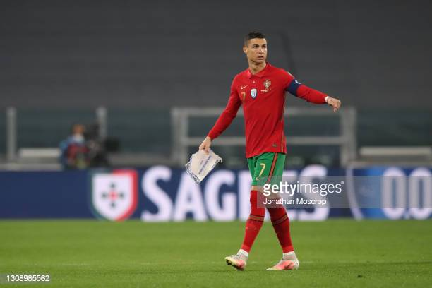 Cristiano Ronaldo of Portugal advises his team mates to which half is their's for the start of the FIFA World Cup 2022 Qatar qualifying match between...