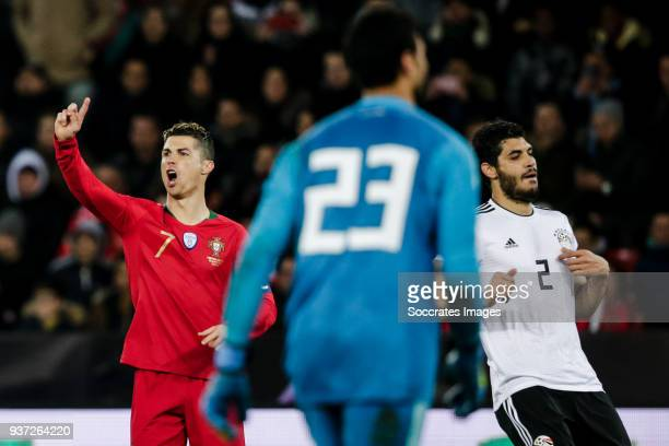 Cristiano Ronaldo of Portugal Ahmed El Shenawy of Egypt Ali Gabr of Egypt during the International Friendly match between Egypt v Portugal at the...