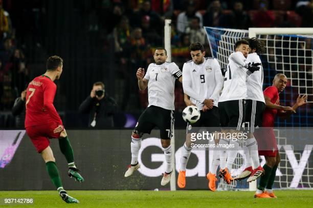 Cristiano Ronaldo of Portugal Ahmed Fathi of Egypt Ahmed Hassan of Egypt Mahmoud Ibrahim of Egypt Mohamed Elneny of Egypt Joao Mario of Portugal...