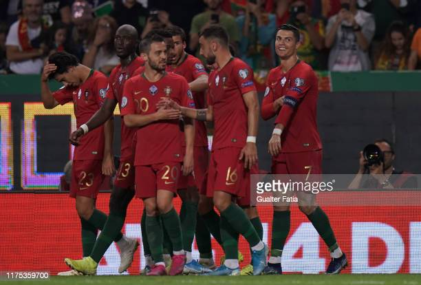 Cristiano Ronaldo of Portugal and Juventus celebrates after scoring a goal during the UEFA Euro 2020 Qualifier match between Portugal and Luxembourg...