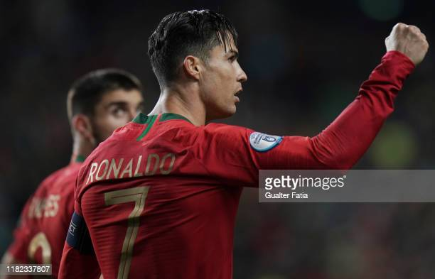 Cristiano Ronaldo of Portugal and Juventus celebrates after scoring a goal during the UEFA Euro 2020 Qualifier match between Portugal and Lithuania...
