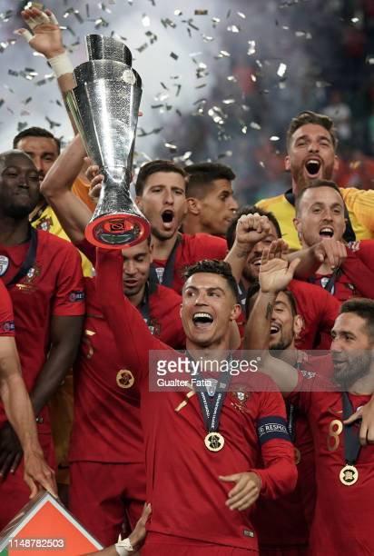 Cristiano Ronaldo of Portugal and Juventus celebrates with trophy after winning the UEFA Nations League at the end of the UEFA Nations League Final...