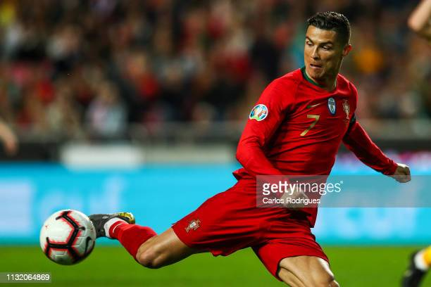 Cristiano Ronaldo of Portugal and Juventus during the 2020 UEFA European Championships qualifying match between Portugal and Ukraine at Estadio do...