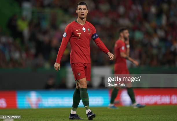 Cristiano Ronaldo of Portugal and Juventus during the UEFA Euro 2020 Qualifier match between Portugal and Luxembourg at Estadio Jose Alvalade on...