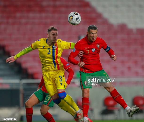 Cristiano Ronaldo of Portugal and Juventus in action during the International Friendly match between Portugal v Andorra at the Luz stadium on...