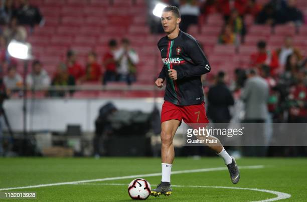 Cristiano Ronaldo of Portugal and Juventus in action during warm up before the start of the UEFA Euro 2020 Qualifier match between Portugal and...