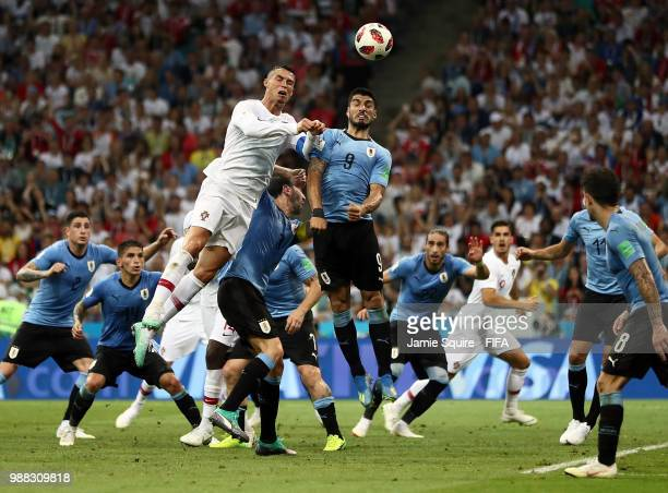 Cristiano Ronaldo of Portugal and Luis Su‡rez of Uruguay during the 2018 FIFA World Cup Russia Round of 16 match between Uruguay and Portugal at...