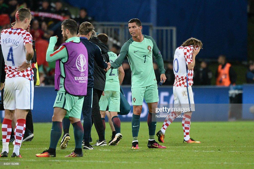 9b5c263a423 Croatia v Portugal - Round of 16  UEFA Euro 2016. Cristiano Ronaldo of  Portugal and Luka Modric ...