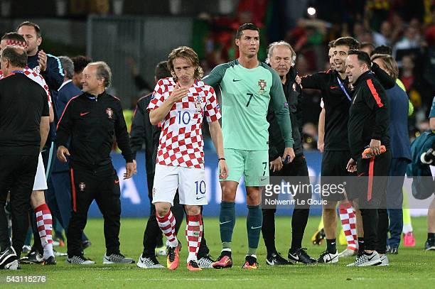 8b691a868ab Cristiano Ronaldo of Portugal and Luka Modric of Croatia during the  European Championship match Round of