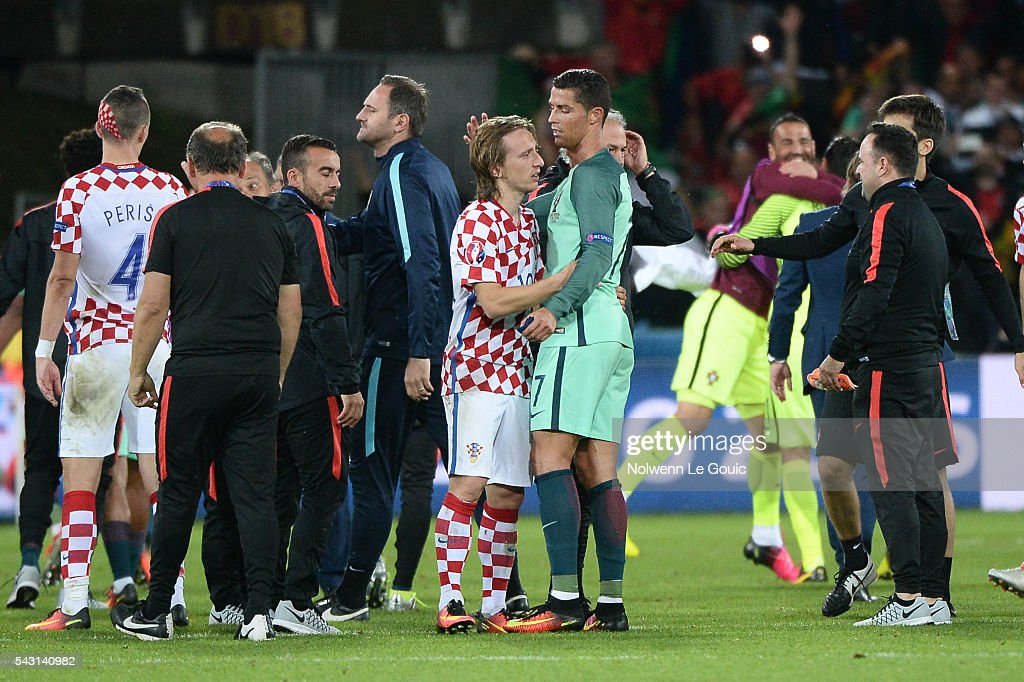 7860d3f17a0 Croatia v Portugal - Round of 16  UEFA Euro 2016. (R-L) Cristiano Ronaldo  of Portugal and Luka Modric ...