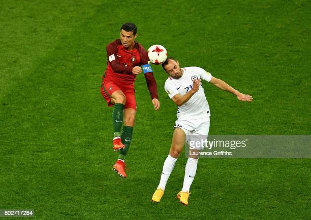 Cristiano Ronaldo of Portugal and Marcelo Diaz of Chile battle for possession during the FIFA Confederations Cup Russia 2017 SemiFinal between...