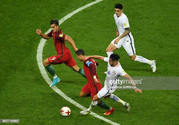 Cristiano Ronaldo of Portugal and Mauricio Isla of Chile during the FIFA Confederations Cup Russia 2017 SemiFinal between Portugal and Chile at Kazan...