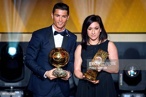 Cristiano Ronaldo of Portugal and Real Madrid and Nadine Kessler of Germany and VfL Wolfsburg pose with their FIFA Ballon d'Or Awards after the FIFA...